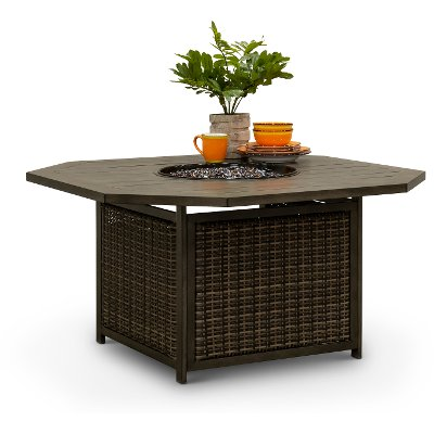 Brown Slat Top 47 Inch Patio Fire Pit - Davenport
