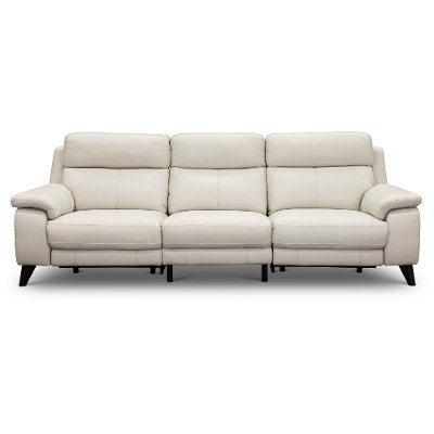 Frost White Leather Match Reclining Sofa Venice