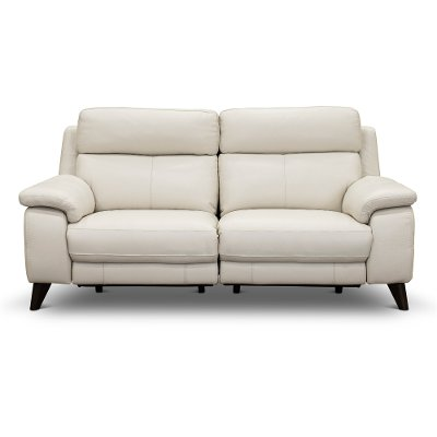 Frost White Leather-Match Power Reclining Loveseat - Venice