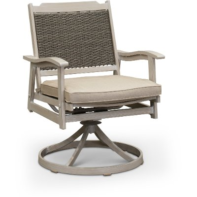 White Washed Swivel Rocker Patio Chair - Lake House