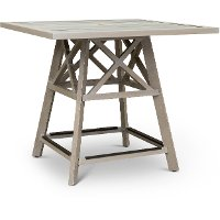 White Washed Pub Height Patio Table - Lake House