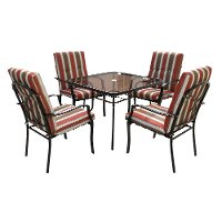 Maroon and Brown Striped 5 Piece Patio Dining Set - Lake Shore