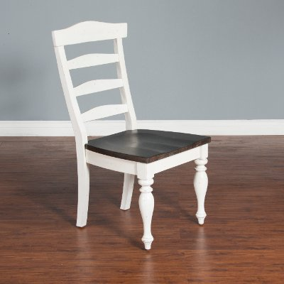 French Country White Two-Tone Dining Room Chair - Bourbon County