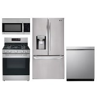 KIT LG 4 Piece Gas Kitchen Appliance Package with Smart French Door Refrigerator - Stainless Steel