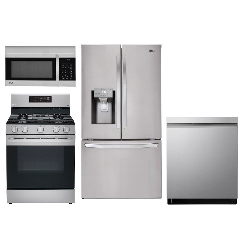 LG 4 Piece Kitchen Appliance Package with Gas Range - Stainless Steel