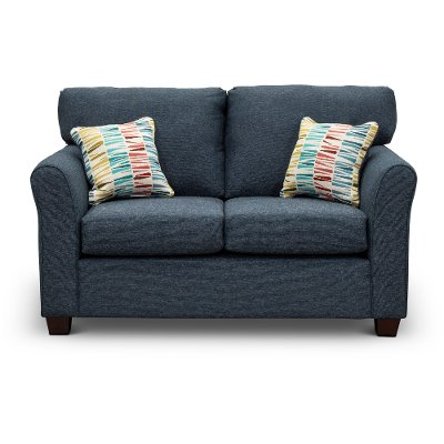 Casual Contemporary Navy Blue Loveseat - Wall St.