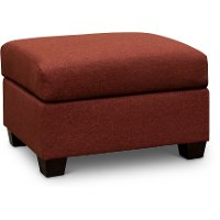 Casual Contemporary Ruby Red Ottoman - Wall St.