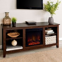 Brown 58 Inch Traditional Fireplace TV Stand