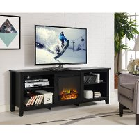Black 70 Inch Rustic Fireplace TV Stand