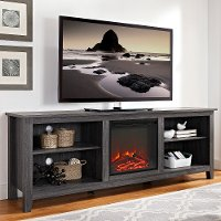 Charcoal 70 Inch Rustic Fireplace TV Stand