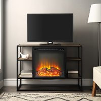 Industrial 40 Inch Metal and Rustic Oak Wood Fireplace TV Stand