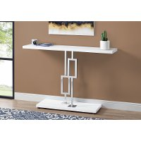 White and Chrome 48 Inch Modern Accent Table