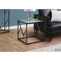 Mirror and Black Metal Modern End Table