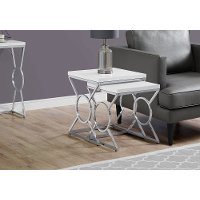 White and Chrome Contemporary Nesting Tables