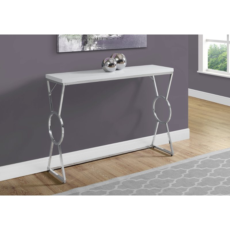 White And Chrome 42 Inch Contemporary Console Table Rc Willey Furniture