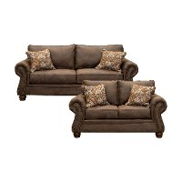 Traditional Mocha Brown 2 Piece Living Room Set - Tahoe