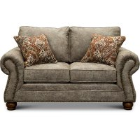 Casual Traditional Graphite Brown Loveseat - Tahoe