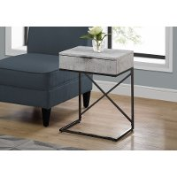 Cement Gray and Black Drawer Top Metal Accent Table