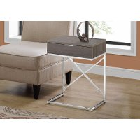 Dark Gray and Chrome Drawer Top Metal Accent Table