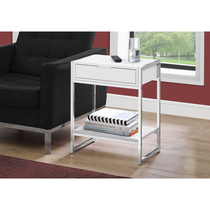 White and Chrome Metal End Table