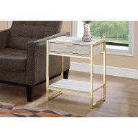 Beige and Gold Metal End Table