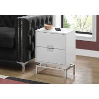 White and Chrome Contemporary End Table