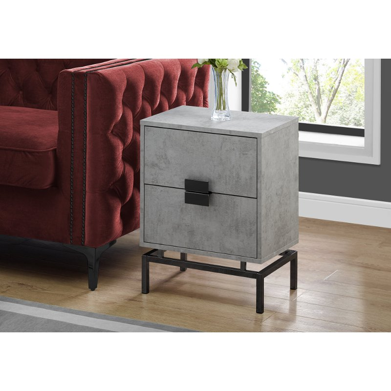 Cement Gray and Black End Table with Drawers
