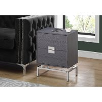 Dark Gray and Chrome End Table with Drawers