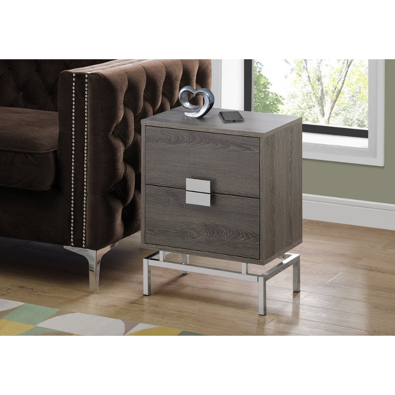 Taupe and Chrome Contemporary End Table