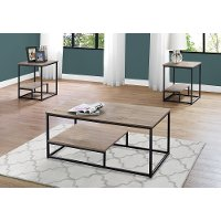 Dark Taupe and Black 3 Piece Metal Table Set
