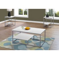 White and Silver 3 Piece Metal Table Set