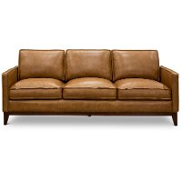 Mid Century Modern Camel Brown Leather Sofa - Newport