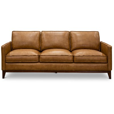 1669-6394-03177137/S Mid Century Modern Camel Brown Leather Sofa - Newport