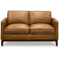 Mid Century Modern Camel Brown Leather Loveseat - Newport