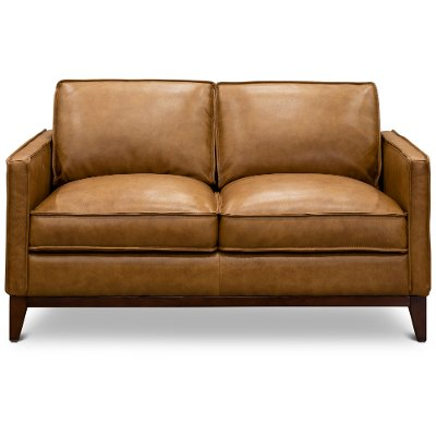 1669-6394-02177137/L Mid Century Modern Camel Brown Leather Loveseat - Newport