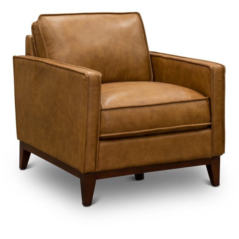 Mid Century Modern Camel Brown Leather