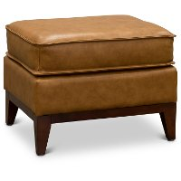 1669-6394-00177137/O Mid Century Modern Camel Brown Leather Ottoman - Newport