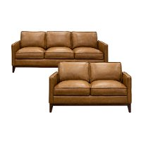 2PC/NEWPORTCAMEL/S/L Camel Brown Leather 2 Piece Living Room Set - Newport