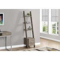 Dark Taupe 69 Inch Ladder Bookshelf