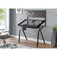 Gray Tempered Glass and Metal Adjustable Drafting Table