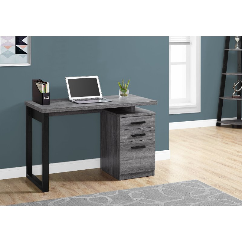 Gray and Black Small Office Desk