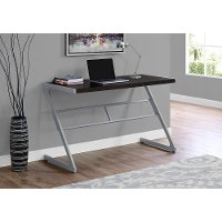 Brown and Silver Metal Writing Desk