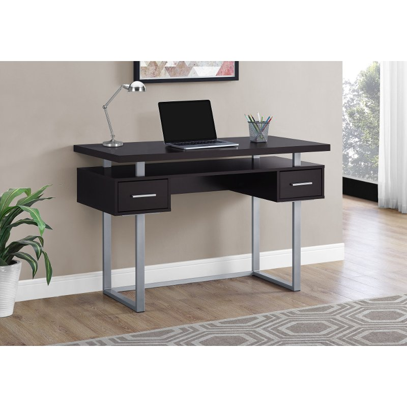 Brown and Silver Small Office Desk