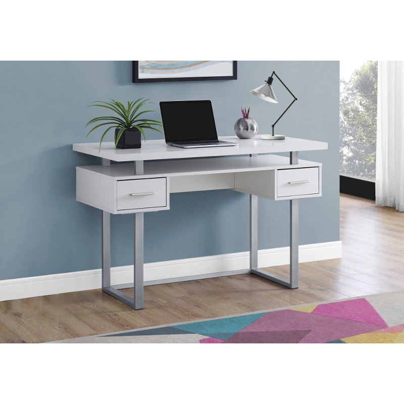 White and Silver Small Office Desk