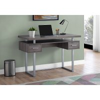 Taupe and Silver Small Office Desk