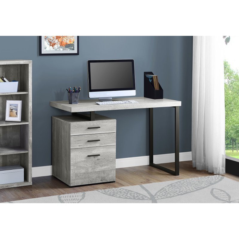 Gray and Black Metal Small Office Desk