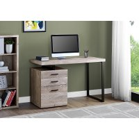 Taupe and Black Metal Small Office Desk