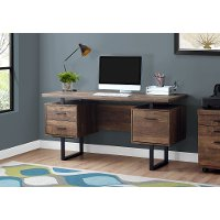 Brown Wood Grain Look and Metal Computer Desk