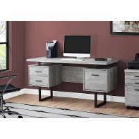 Gray Wood Grain Look and Metal Computer Desk