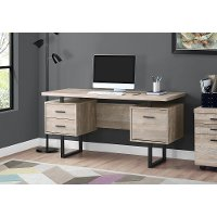 Taupe Wood Grain Look and Metal Computer Desk